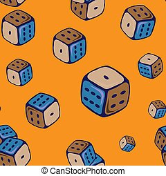 Seamless pattern with cubes for dice game on an orange background.