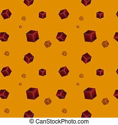 Seamless pattern with cubes on an orange background. Vector Illustration