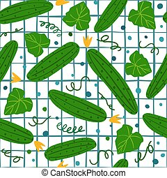 Seamless pattern with cucumber on white background.