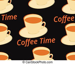 Seamless pattern with cup of coffee on a saucer. Coffee time. Vector illustration.
