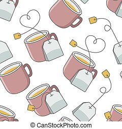 seamless pattern with cup of tea and bag