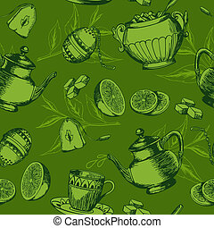 Seamless pattern with cup of tea