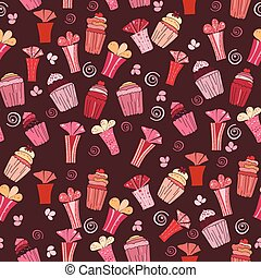 Seamless pattern with cupcakes and gift vector  illustration
