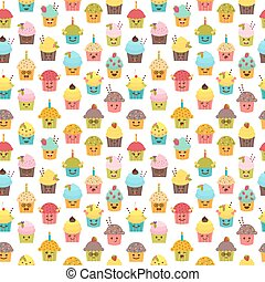 Seamless Pattern With Cupcakes And Muffins Kawaii Cute Cartoon Characters Emoji