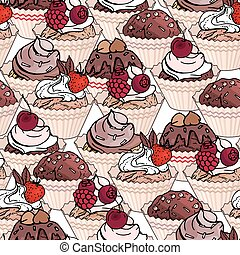 Seamless pattern with cupcakes and sweet desserts. Pastry, fruits, berries, chocolate and cream. Endless pattern, white background. Red, pink and brown color.