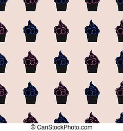 Seamless pattern with cupcakes pink and blue