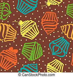 Seamless pattern with cupcakes