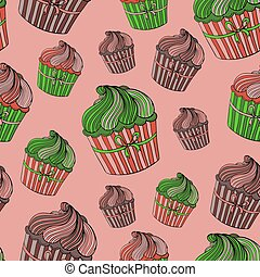 Seamless pattern with cupcakes.