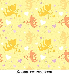 Seamless pattern with cupids.