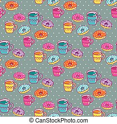 Seamless pattern with cups and cake