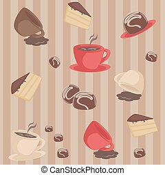 Seamless pattern with cups and cakes