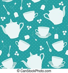 Seamless pattern with cups and teapots