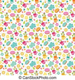 Seamless pattern with cups, lemon