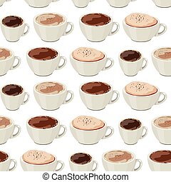 Seamless pattern with cups of coffee. Endless texture for your design, restaurant and cafe menu.