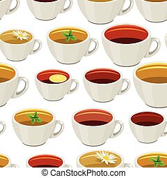 Seamless pattern with cups of tea.