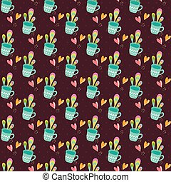Seamless pattern with cups of tea