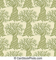 Seamless pattern with curling trees.
