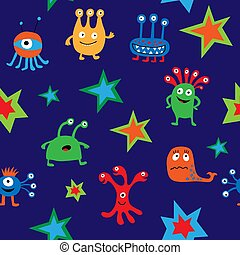 Seamless pattern with cute aliens on a blue background