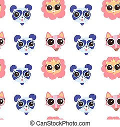Seamless pattern with cute animals face image, Flat vector hand drawn childish illustration.