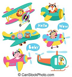 Seamless pattern with cute animals flying on a airplanes hand drawn vector
