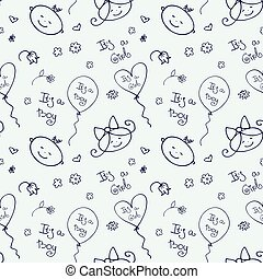 Seamless pattern with cute baby faces