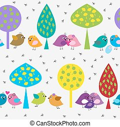 Seamless pattern with cute birds in the forest