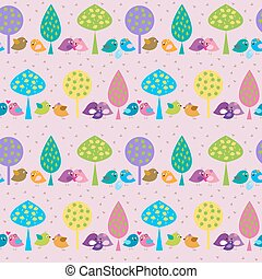 Seamless pattern with cute birds on a pink background