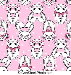 Seamless pattern with cute bunny girl on polka dot background.