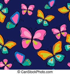 Seamless pattern with cute butterflies on a blue background