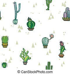 Seamless pattern with cute cactuses