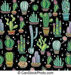 Seamless pattern with cute cactuses - Seamless pattern with...