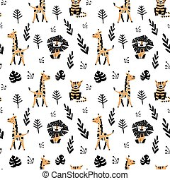 Seamless pattern with cute cartoon animals