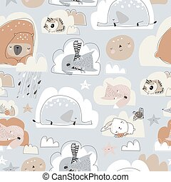 Seamless pattern with cute cartoon animals sleeping on clouds