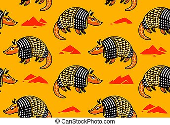 Seamless pattern with cute cartoon armadillo. Vector background