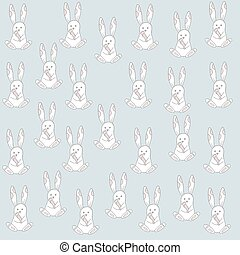 Seamless pattern with cute cartoon bunny