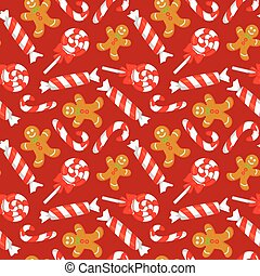 Seamless pattern with cute cartoon Christmas candy cane, sweets and gingerbreads. New year traditional symbols.