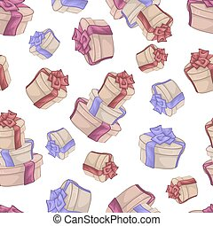 Seamless pattern with cute cartoon gifts. Vector illustration.
