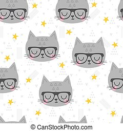 Seamless pattern with cute cartoon little cat. Children background. Cartoon baby animals. Design for textile, fabric or decor