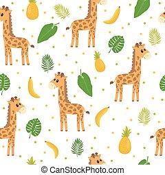 Seamless pattern with cute cartoon little giraffe. Children background. Cartoon baby animals. Design for textile, fabric or decor