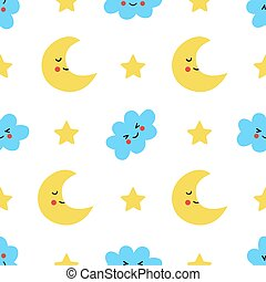 Seamless pattern with cute cartoon moon and clouds.