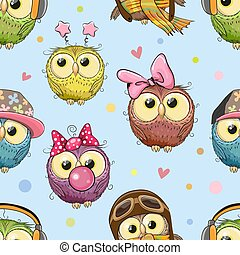 Pattern with cute cartoon owls