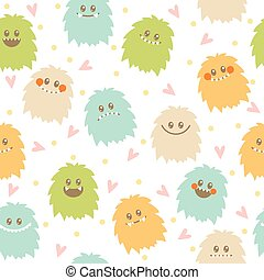 Seamless pattern with cute cartoon smiley monsters. Different fluffy monsters characters on white background