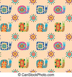 Seamless pattern with cute cartoon snails on a beige background