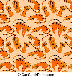 Seamless pattern with cute cartoon tigers