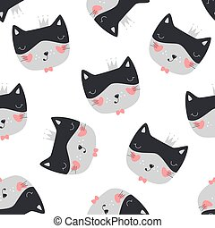 Seamless pattern with cute cat.