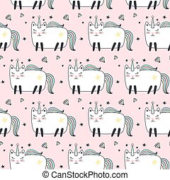 Seamless pattern with cute caticorns.
