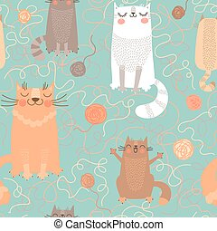 Seamless pattern with cute cats and balls of yarn. Vector...