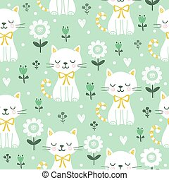 Seamless pattern with cute cats.