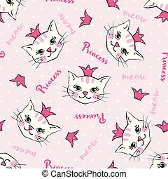 Seamless pattern with cute cats princess isolated on white.