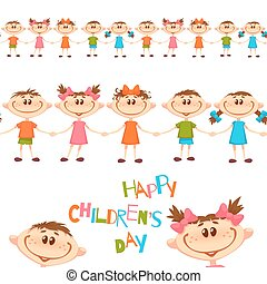 Seamless pattern with cute childrens. Happy Childrens Day...